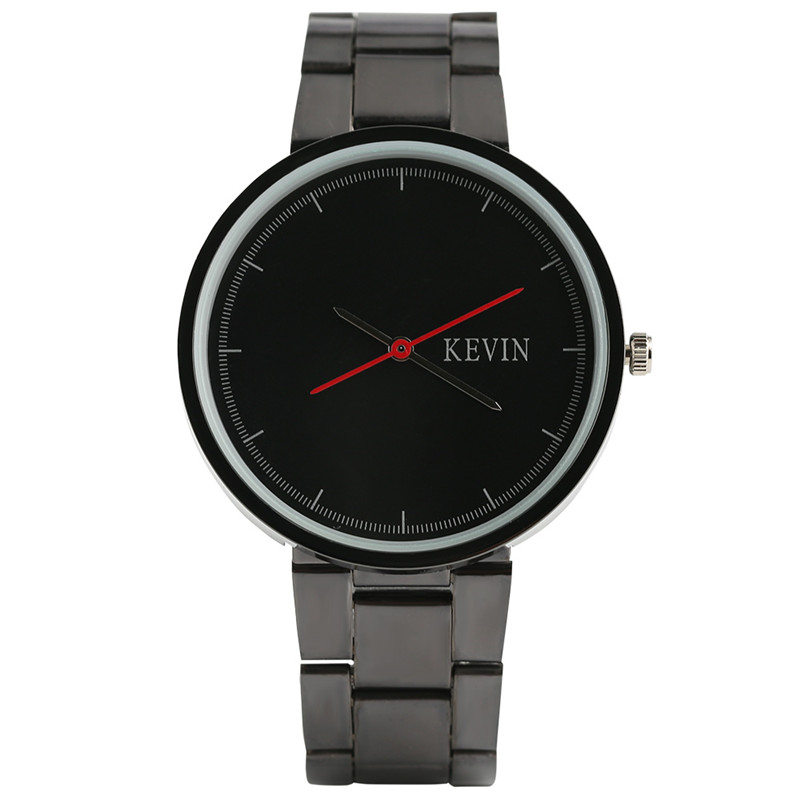 KEVIN Men Stylish Casual Black Stainless Steel Fashion Women Dress Wrist Watch Quartz Analog Minimalist Round Dial Elegant fashion dress watch elegant crystal dial red faux leather band strap blink quartz analog casual lady women wrist watch stylish