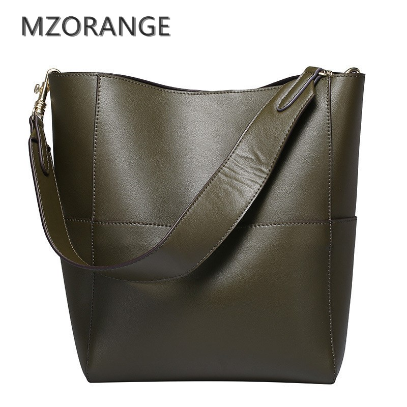 MZORANGE 100% genuine leather women Bucket Bag fashion handbags 2018 Simple Shoulder bags Casual women tote shopping big bags 2018 new fashion top handle bags women cowhide genuine leather handbags casual bucket bags women bags rivet shoulder bags 836