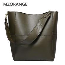 MZORANGE 100% genuine leather women Bucket Bag fashion handbags 2017 Simple Shoulder bags Casual women tote shopping big bags