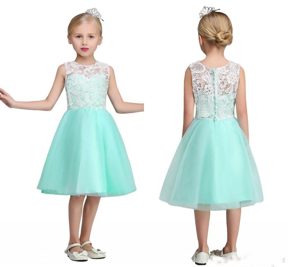 2017 New White Lace Top Cheap Flower Girls' Dresses Crew Neck Knee Length Mint Green Tulle Mother Daughter Dresses For Girl plus keyhole pleated neck lace panel top
