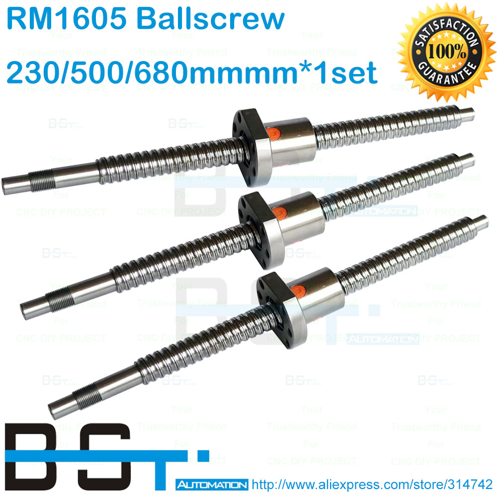 BSTMOTION Promotion for 1605 Ballscrew 230mm 500mm 680mm ball screw with ballnut and standard end machining