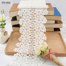 1yard 19cm lace fabric ribbon wedding decoration Bilateral water-soluble lace large bar code high-end white flower milk silk