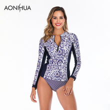 Aonihua Two Piece Swimsuit For Women Plus Size Swimwear Floral Print Long Sleeve Swim Suit 2019 New Arrivals S-2XL