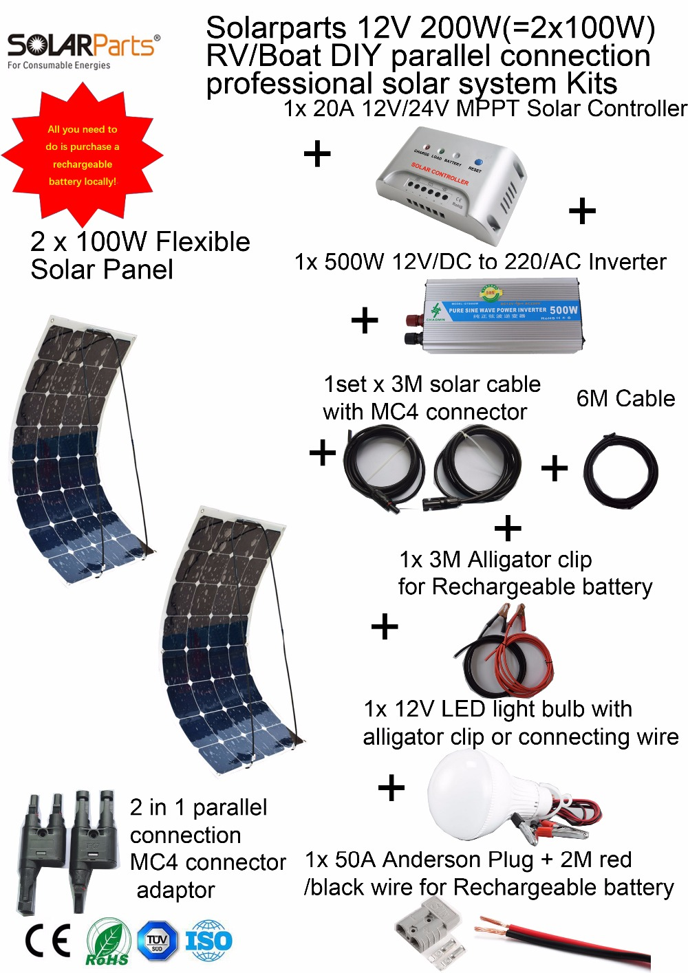 BOGUANG 1x200W Photovoltaic system DIY RV/Boat/Marine Kit Solar Home efficient flexible solar panel MPPT controller Inverter 50w 12v epoxy solar panels solar cells battery flexible polycrystalline silicon diy solar modules pro for boat rv car 540x550mm