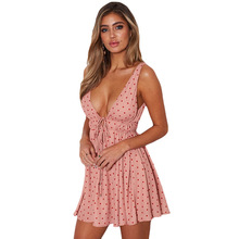 Russia Free shipping Summer New Point Printed Dresses with Lower Waist Deep V Breast Sexy Suspender dress Backless A-shaped
