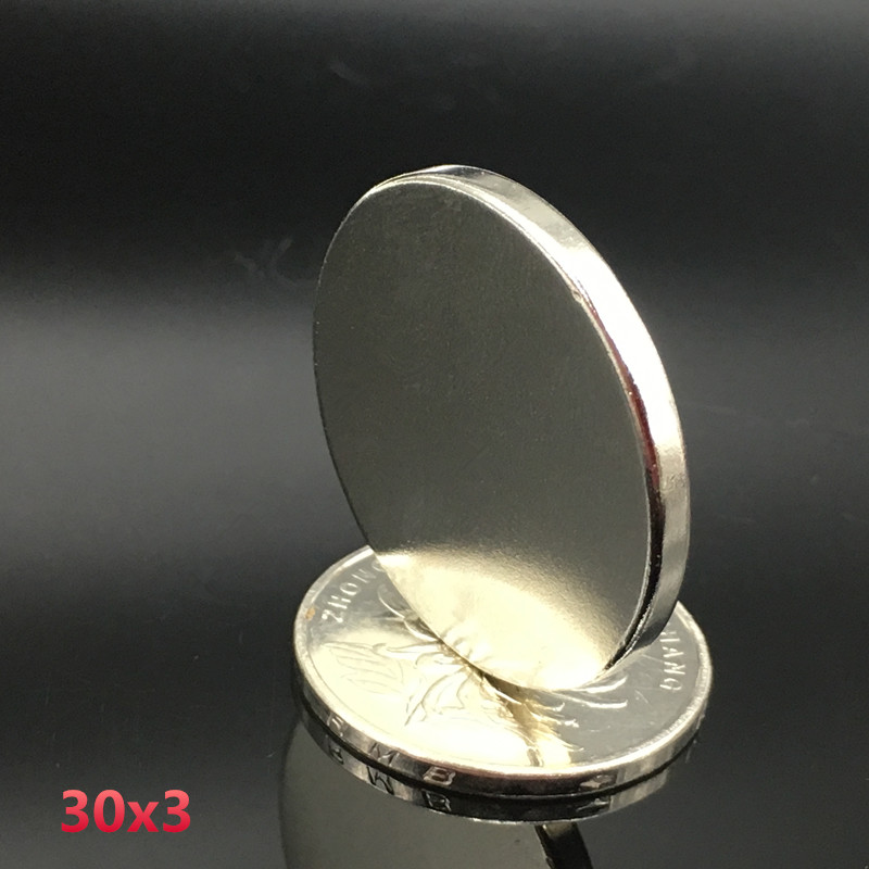 2pcs 30x3 mm neodymium magnet 30mm*3mm strong rare earth neodymium magnets 30*3 mm NdFeB permanent round magnetic 30mmx3mm wholesale 1pcs 30mm x 30mm craft model strong rare earth ndfeb magnet 30 30 mm neodymium n52 fridge magnets round sheet