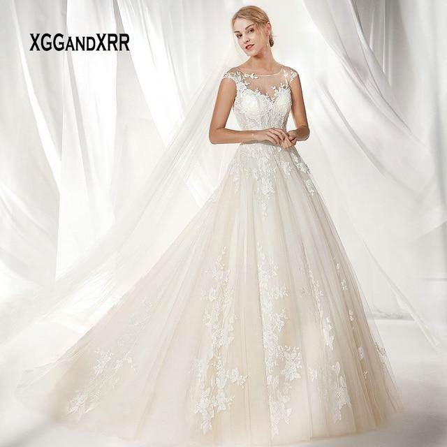 Romantic Ball Gown Lace Wedding Dress 2019 Long Bride Dress Illusion Applique White Vestido De Noiva Plus Size gelinlik Bridal