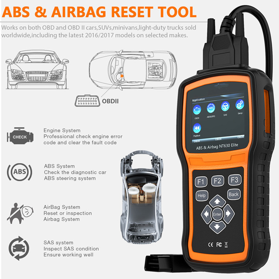 NT630 Eite ABS SRS Airbag Air Bag Crash Data Reset Tool Automotive Scanner shows In Text And Graphic Format