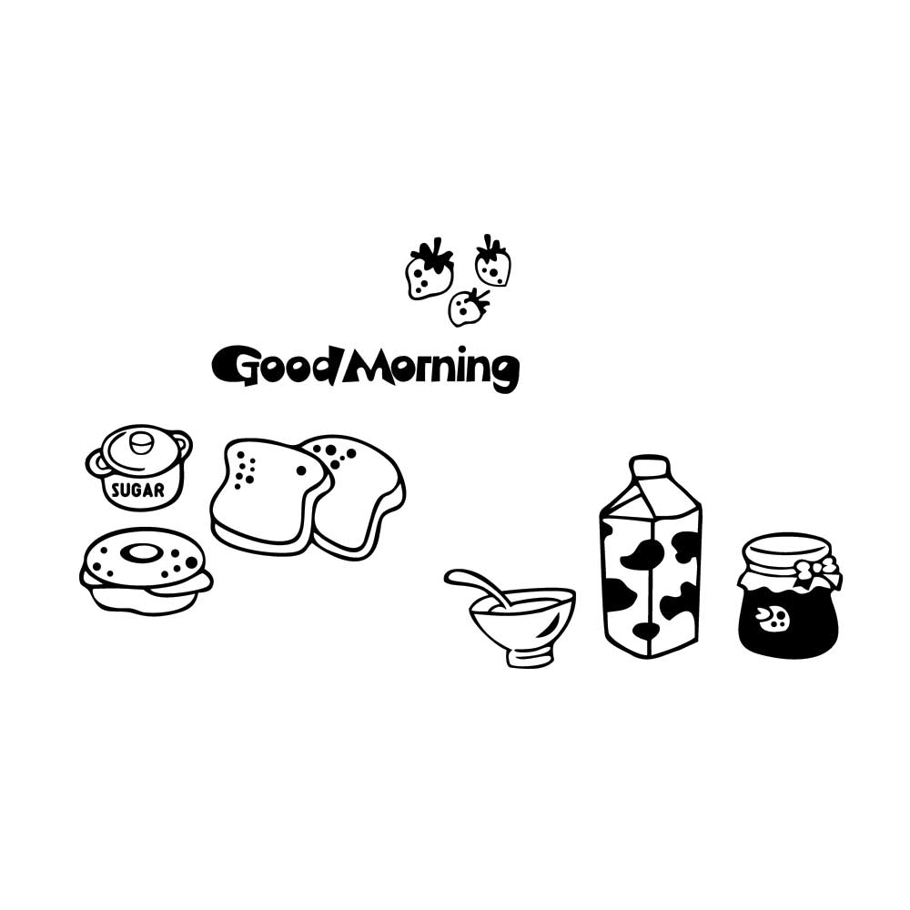 Good morning breakfast combination wall decals Warm family dining room kitchen fridge decorative wall stickers