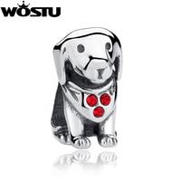New Design 925 Sterling Soild Silver Cute Dog Charm Beads Fit Original Pandora Bracelet Authentic DIY
