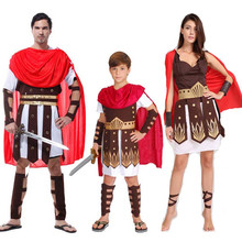 Woman Men Boy Red Ancient Rome Italy Warrior Soldier Cosplay Costume Masquerade Family Party Carnival Hallowmas Dress Supplies