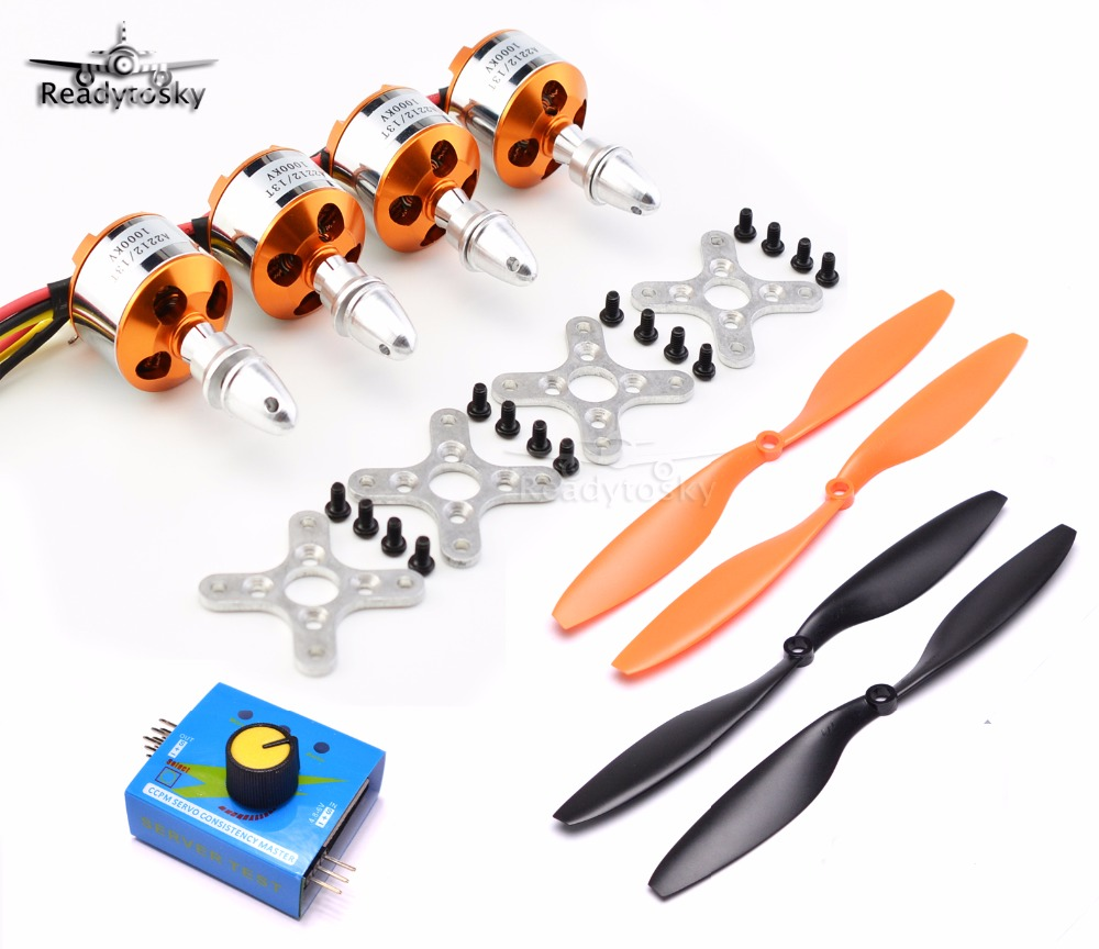 XXD A2212 2212 1000KV /  1400KV Brushless Motor + 1045 Propeller Props + Servo Tester  For RC F450 S500 Multicopter Quadcopter xxd a2212 1000kv brushless motor for rc airplane quadcopter