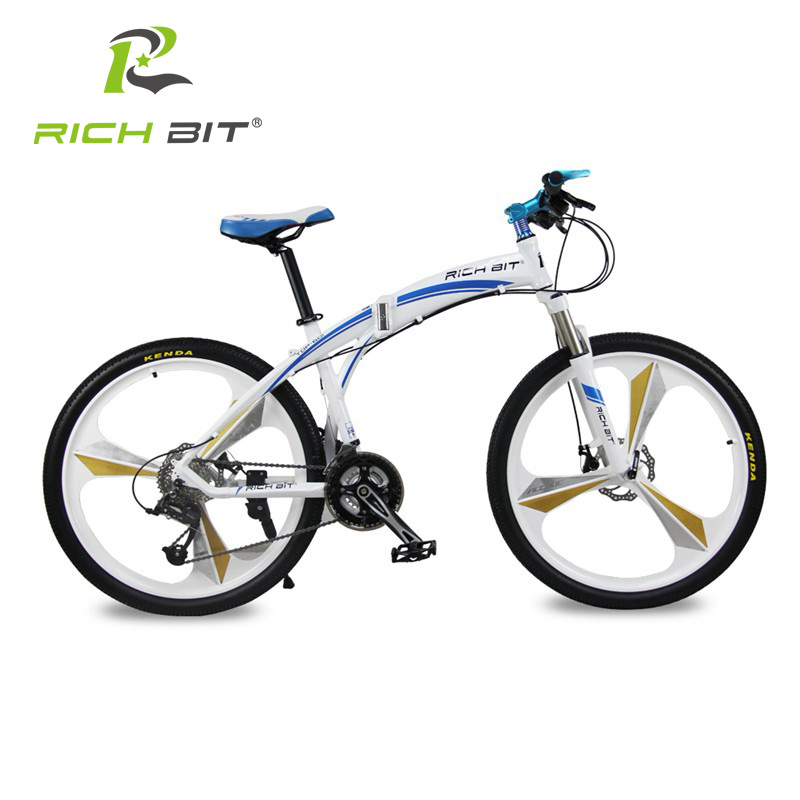 Richbit Aluminum Folding Bicycle 27 speeds Mountain Bike Dual Disc Brakes Variable Speed Road Bike Racing Bicycle White and Blue