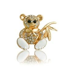 Free Shipping 2015 Cheap Gold Rhinestone Bear Brooch Fashion Jewellery Women Crystal Broche X1388