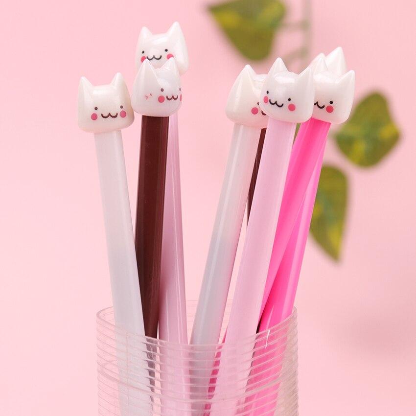 1PC Cute Cat Gel Ink Pen Kawaii Stationery Pens Novelty Gift School Writing Office Supplies