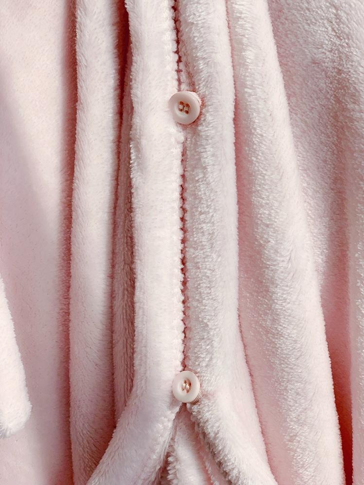 Cute Pink Comfy Blanket Sweatshirt Winter Warm Adults and Children Rabbit Ear Hooded Fleece Blanket Sleepwear Huge Bed Blankets 148