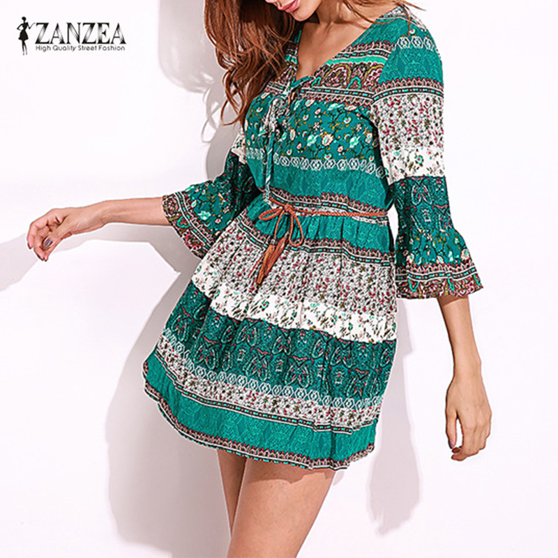 ZANZEA Wanita Vintage Floral Cetak Sexy Party Mini Dress 2018 Lady Ruffled Flounce 3/4 Sleeve Deep V Neck Lace Up Vestidos kasual