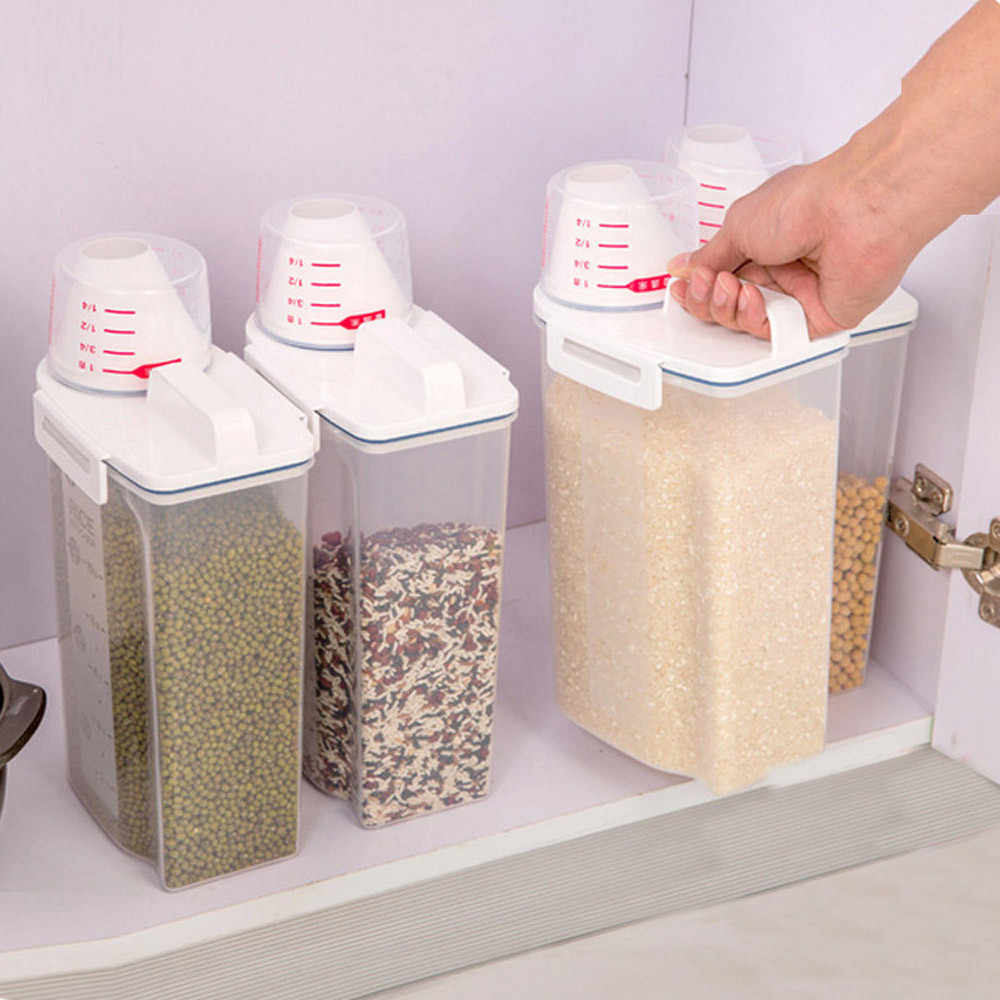 Eco Friendly Kitchen Organizer 2L Plastic Cereal Storage Box Food Grain Rice Container Mutfak Cuisine Fridge Organizers #BL5