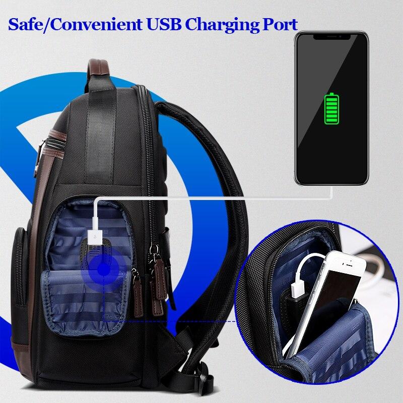 Bopai New Black Multi Pocket Men Backpack Business Solid Nylon Men Daypacks Mochila Bags Convenient Usb Charging Backpack Women #2