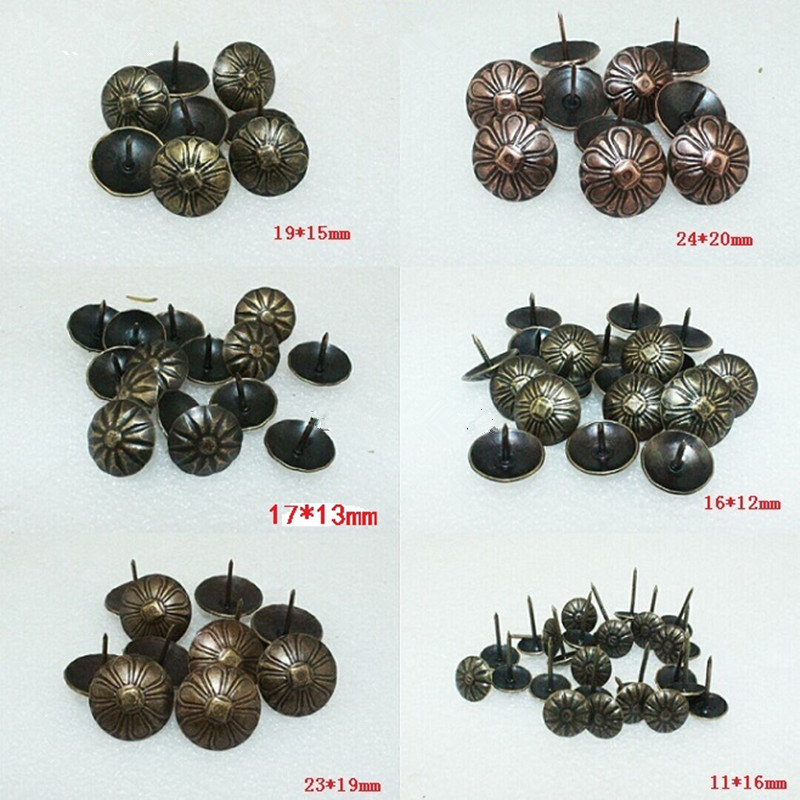 Iron Upholstery Nail Antique Jewelry Case Box Sofa Decorative Tack Stud Pushpin Decorative Furniture Nails With Flower,50Pcs