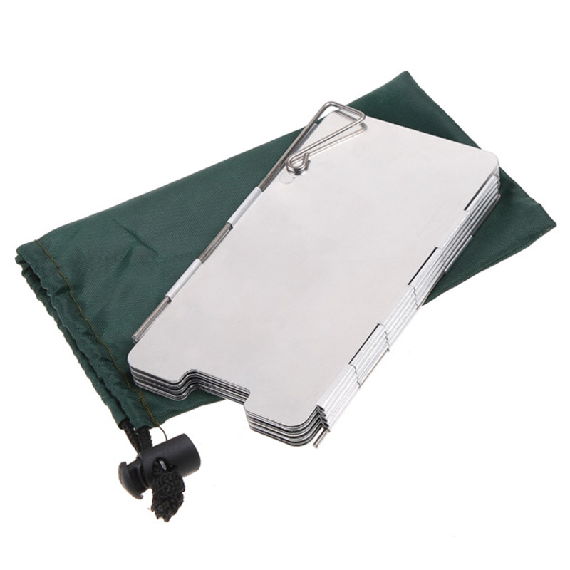 1 Set 9 Plates Fold Outdoor Camping Stove Wind Shield Screen for Camping Picnic Gas Stove