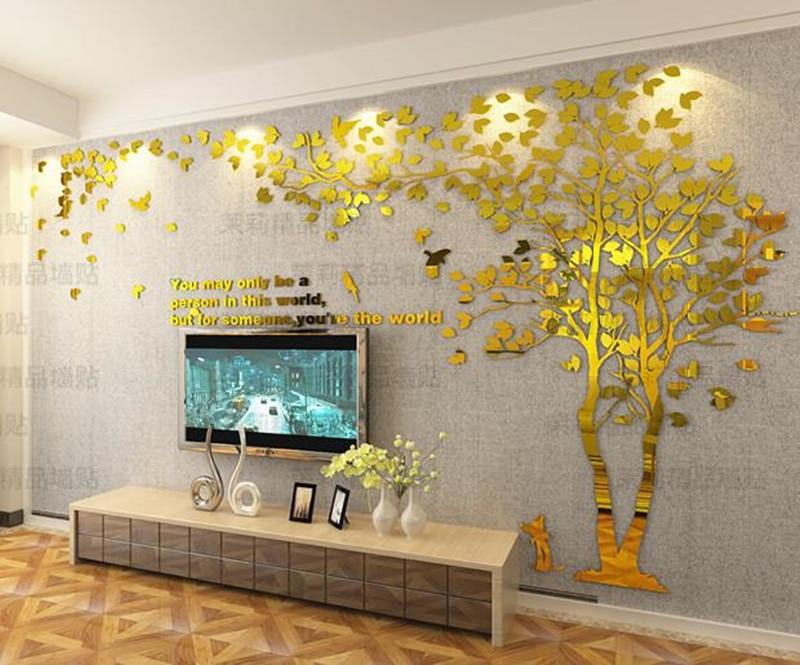 3D cieta akrila sienas uzlīmes viesistabas dīvāns TV fona sienas - Mājas dekors - Foto 1