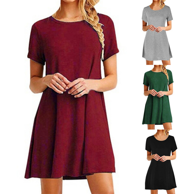 35426c6c38 Cotton T Shirt Dress Summer 2018 Fashion Short Sleeve Women Everyday  Dresses Knee Length Loose Casual Women Dress Clothing-in Dresses from Women s  Clothing ...