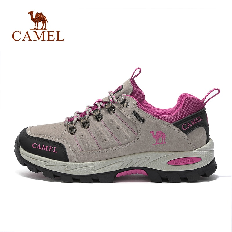 CAMEL Women Hiking Shoes Suede Leather Upper Professional Anti Slip Durable Breathable Soft Outdoor Climbing Trekking
