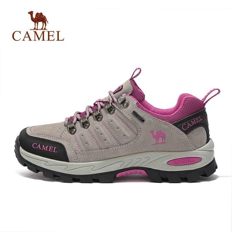 ラクダ女性スエードレザーアッパープロ抗耐久透湿ソフト屋外クライミングトレッキングシューズ  グループ上の スポーツ & エンターテイメント からの ハイキング靴 の中 1