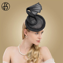 acd7e0ee8636f FS Vintage Ladies Sinamay Hat Gray Royal Weddings Hats For Women Elegant Fascinator  Cocktail Tea Party