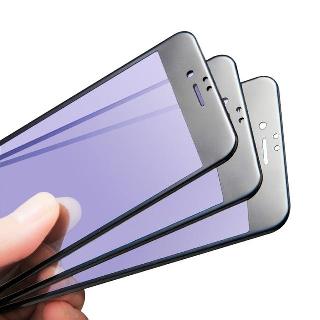 3d della copertura completa anti-blu viola ray vetro temperato per iphone 6 6 s 7 plus screen protector pellicola di protezione con arc bordo