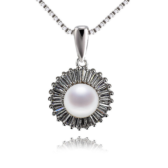 SNH good luster 925 sterling silver genuine freshwater pearl pendant AAA natural 9mm button white women pearl jewelry design