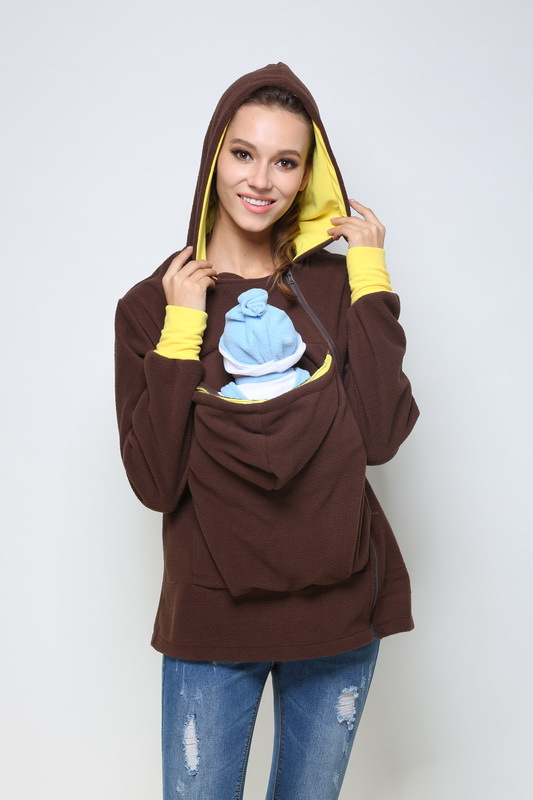 Maternity Warm Kangaroo Hoodies Sweater Back/ Front with Baby Carriers 3in1 Maternity Warm Kangaroo Hoodie Coat Newborn Baby 462 color block kangaroo pocket hoodie with sweatpants