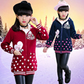 New year girls hoodies plush Lining polka dot zipper sport jackets hooded christmas baby girls clothes child