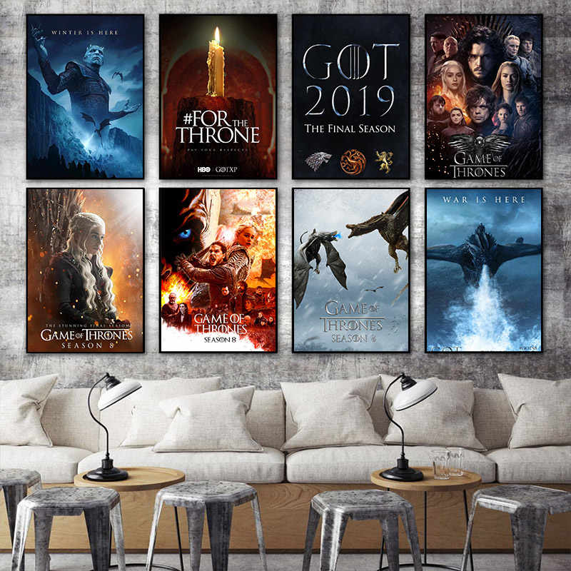 Game of Throne season 8 GOT 2019 Tv play Poster Home Kids Baby living Room  Bedroom Decor Print Picture Painting Wall Art Canvas