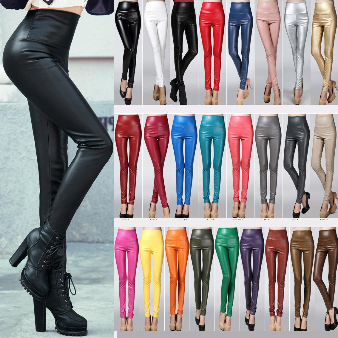 2019 Autumn And Winter Top Selling New Arrival Leather Leggings High Waist Woman Leggings High Quality 25 Colors Available