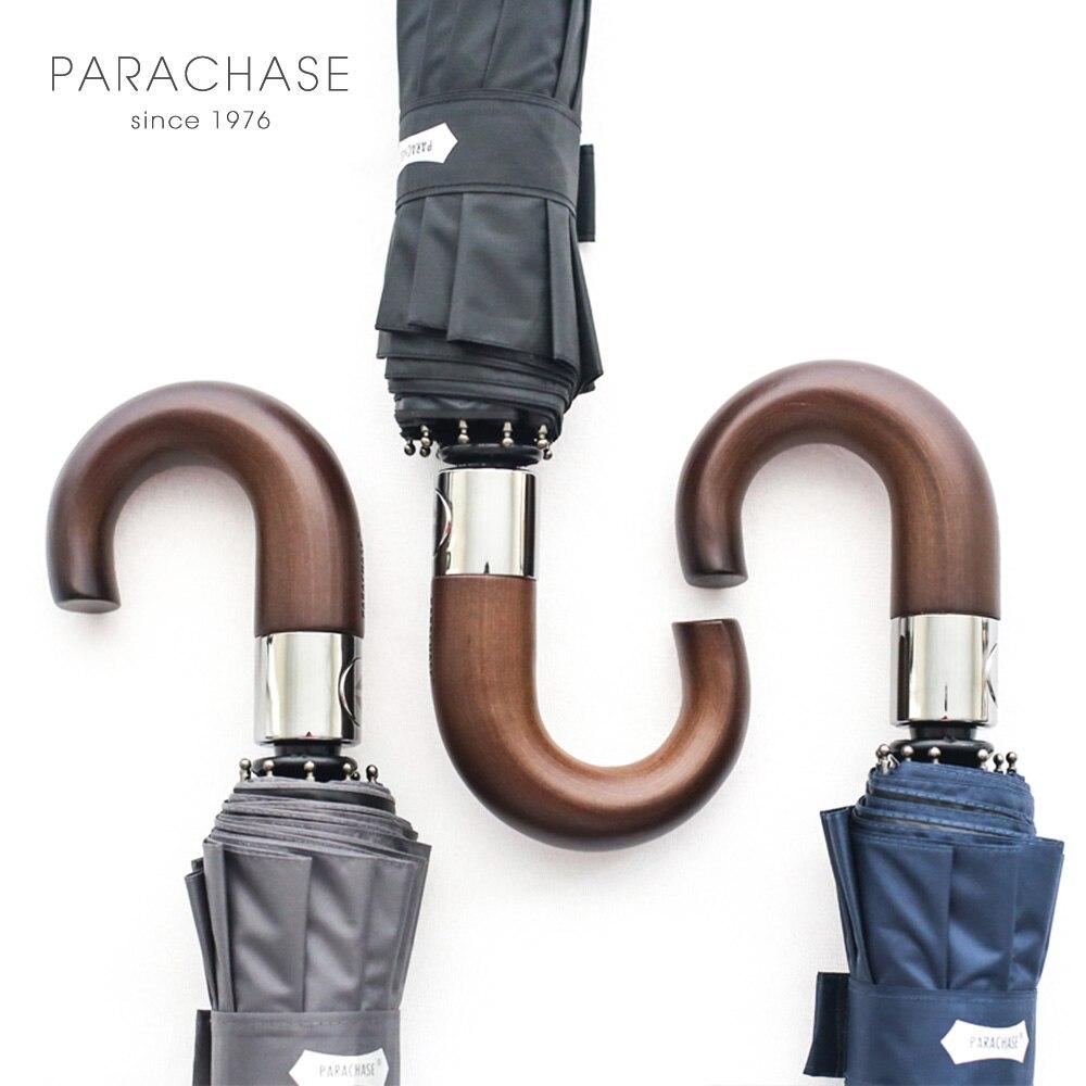 Новое поступление бренд складной зонт Для мужчин 10 К сильный Ветрозащитный Автоматическая дождь Зонты Anti UV черное покрытие деревянной ручк...