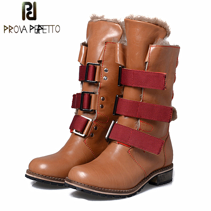 Prova Perfetto Winter Women Warm Snow Boots Buckle Straps Genuine Leather Round Toe Low Heel Fur Boots Mid-calf Botas Mujer prova perfetto winter women warm snow boots buckle straps genuine leather round toe low heel fur boots mid calf botas mujer