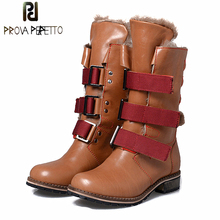 Prova Perfetto Winter Women Warm Snow Boots Buckle Straps Genuine Leather Round Toe Low Heel Fur Boots Mid-calf Botas Mujer