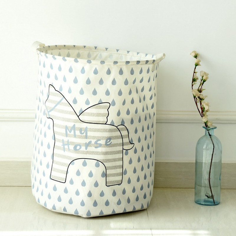 Waterproof Foldable Cotton Linen Washing Clothes Laundry Basket Bag Hamper Storage Raindrop/Stars/Wheat