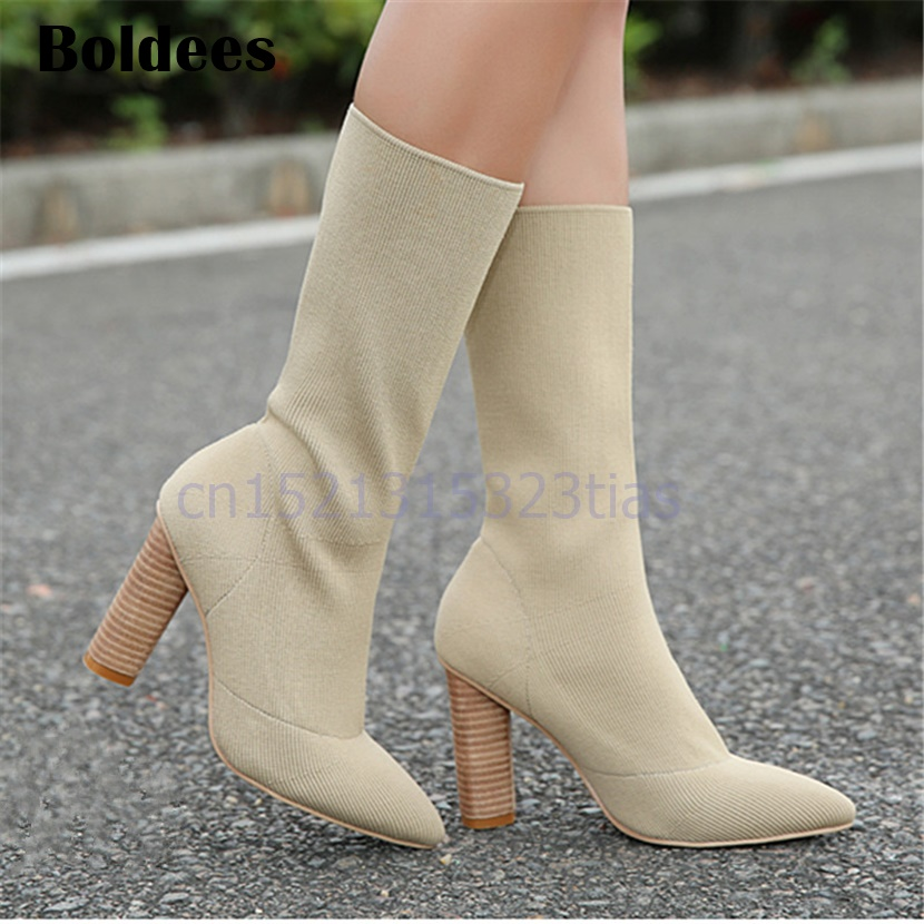 Beige Green Elastic Fabric Ankle Boots Chunky High Heels Stretch Women Autumn Sock Boots Pointed Toe Pumps Botas Mujer