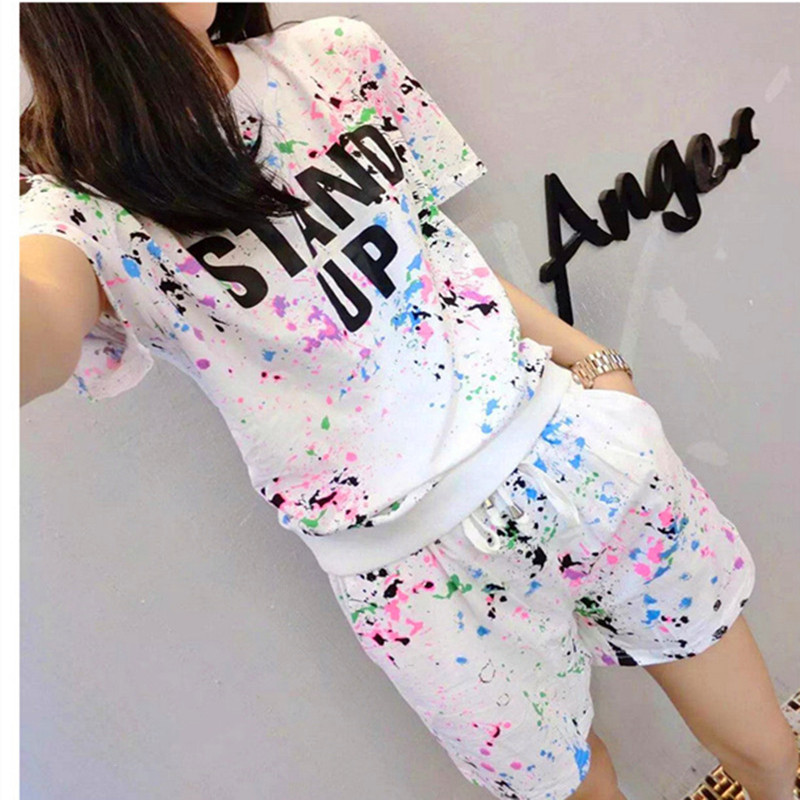 fabbda5a0e 17 Summer Women's Sets Short Sleeve Printed T Shirt + Shorts Sweat Suits  Women Tracksuits Camouflage Suit Two Piece Sets