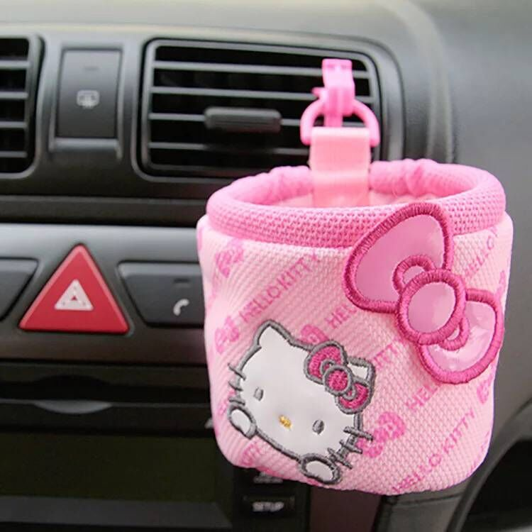 Cute Cartoon Pink Cat Car Storage Box  Stowing Tidying Cover Car Interior Accessories Car Styling-pink