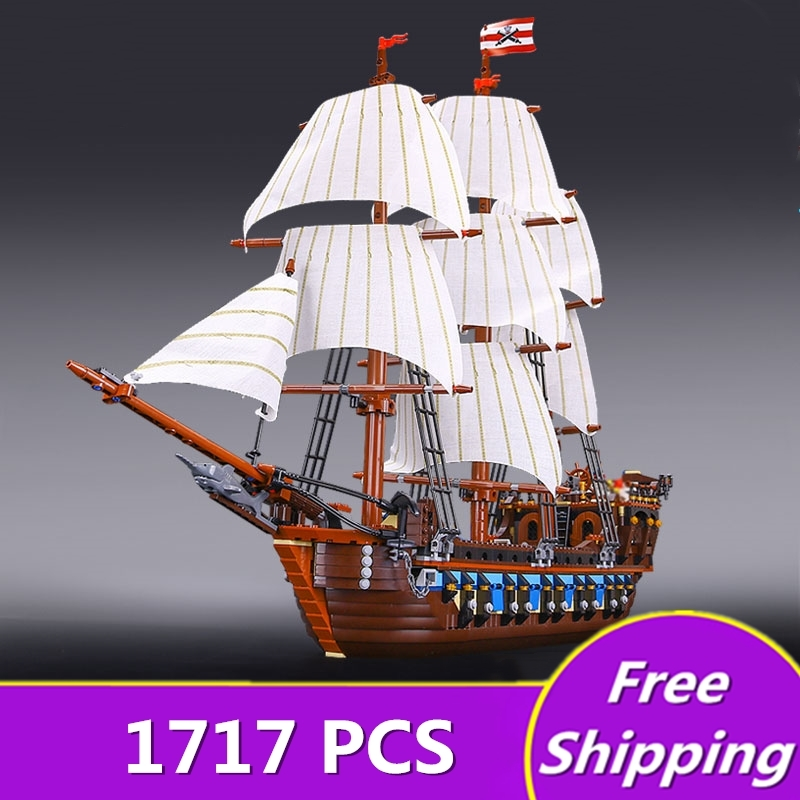 1717 Pcs IN STOCK NEW LEPIN 22001 Pirate Ship Imperial warships Model Building Kits Block Briks Toys Gift Compatible Legoingly new lepin 22001 pirate ship imperial warships model building block kitstoys gift 1717pcs compatible10210 children birthday