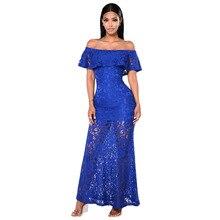 Slash Neck Bodycon Lace Dress Women Hollow Out Package Hip Long Maxi Dress Summer High Waist Strapless Party Dresses Yellow Blue
