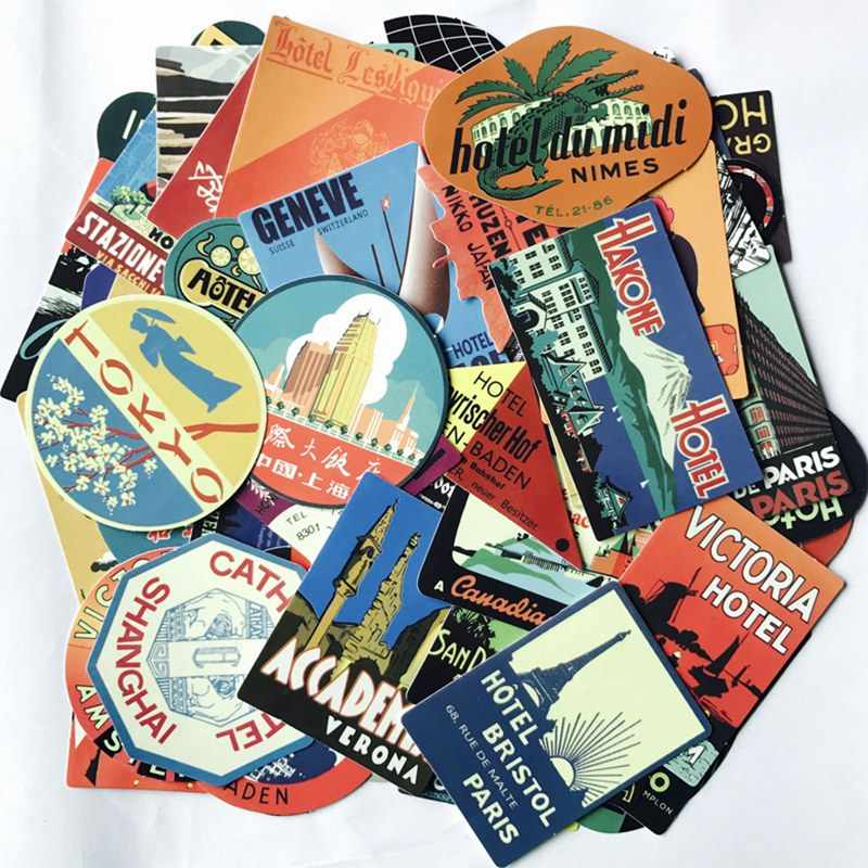 Cartoon Retro Stickers International Hotel Sticker Laptop Skateboard Graffiti Waterproof Stickers Pack Classic Toys 56Pcs/Lot