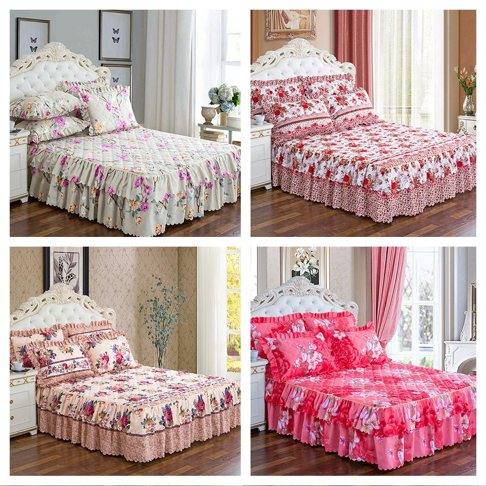Thickened Quilted Bed Skirt Single Bed Cover Bed Sheet - Simple Flower Pattern Series