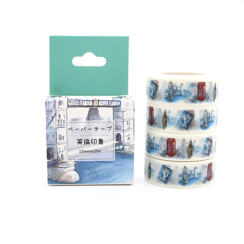 Box Package Creativity British Style Washi Tape Excellent Quality Colorful Paper Masking Tape DIY Decorative Tapes 10m*15mm