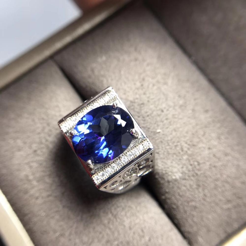 Flashing Ocean Blue Topaz Gemstome Ring For Strong Men Muscular Power Ring 925 Sterling Ring  Natural Gem Big Size Birthday Gift
