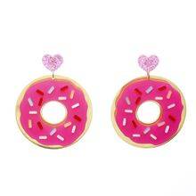 Fashion Food Jewelry Acrylic Pink Donuts Earrings Geometric Heart Personality Trendy Women